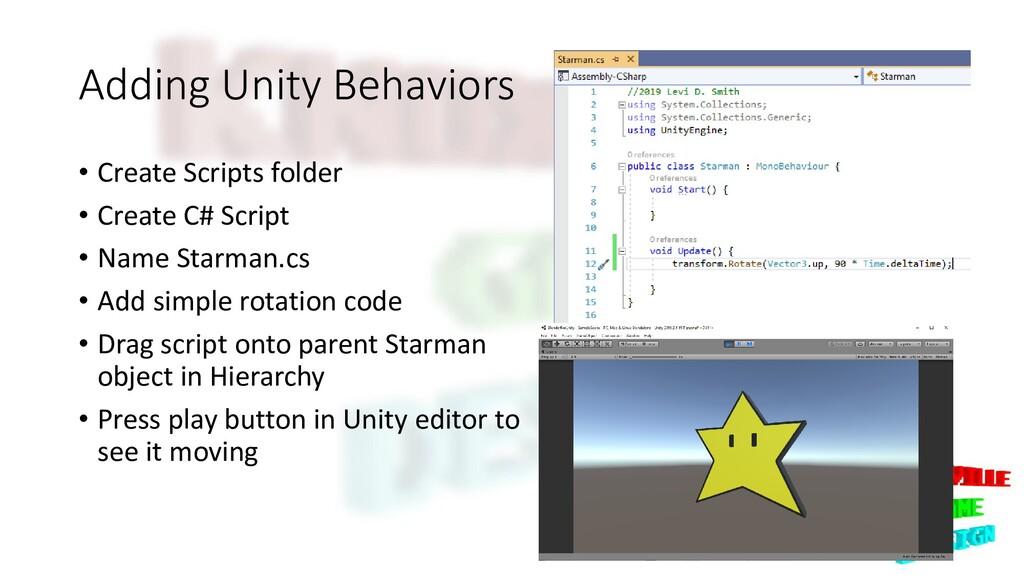 Adding Unity Behaviors • Create Scripts folder ...