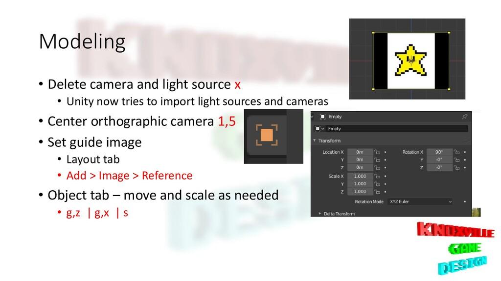 Modeling • Delete camera and light source x • U...