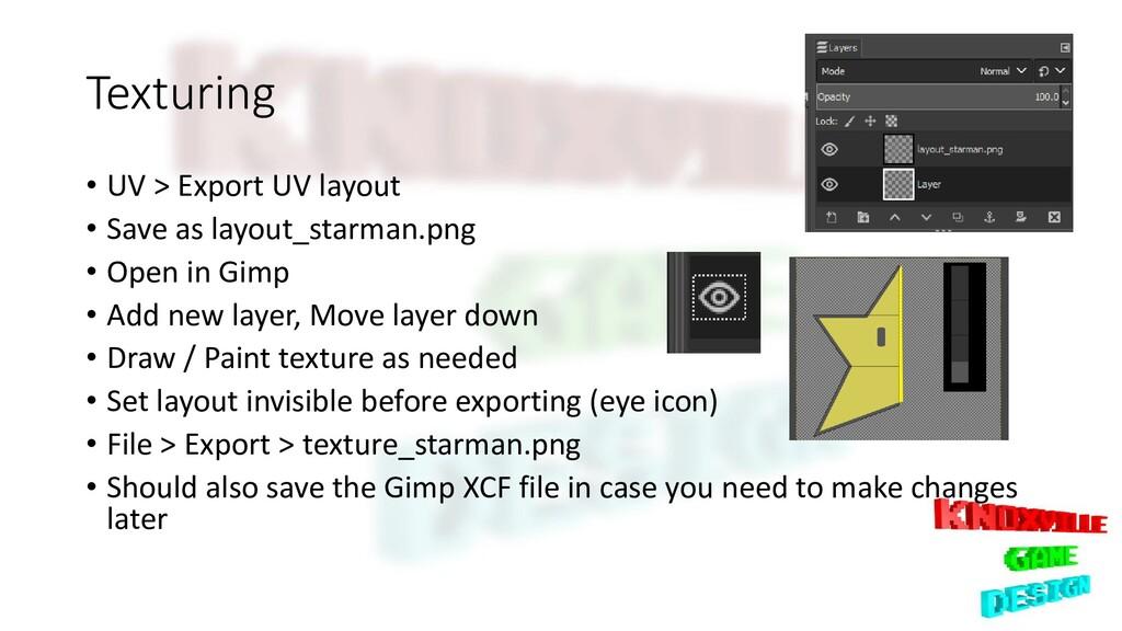 Texturing • UV > Export UV layout • Save as lay...