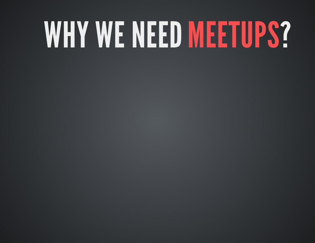 WHY WE NEED MEETUPS?