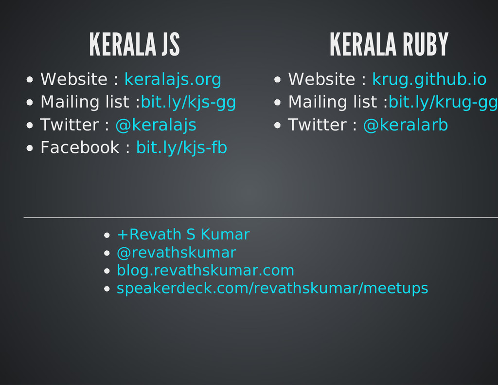KERALA JS Website : Mailing list : Twitter : Fa...