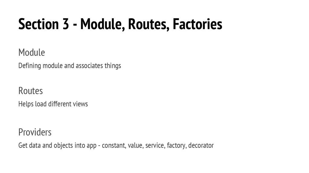 Section 3 - Module, Routes, Factories Module De...