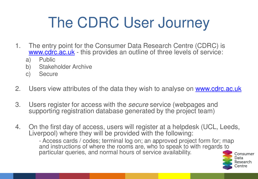 The CDRC User Journey 1. The entry point for th...