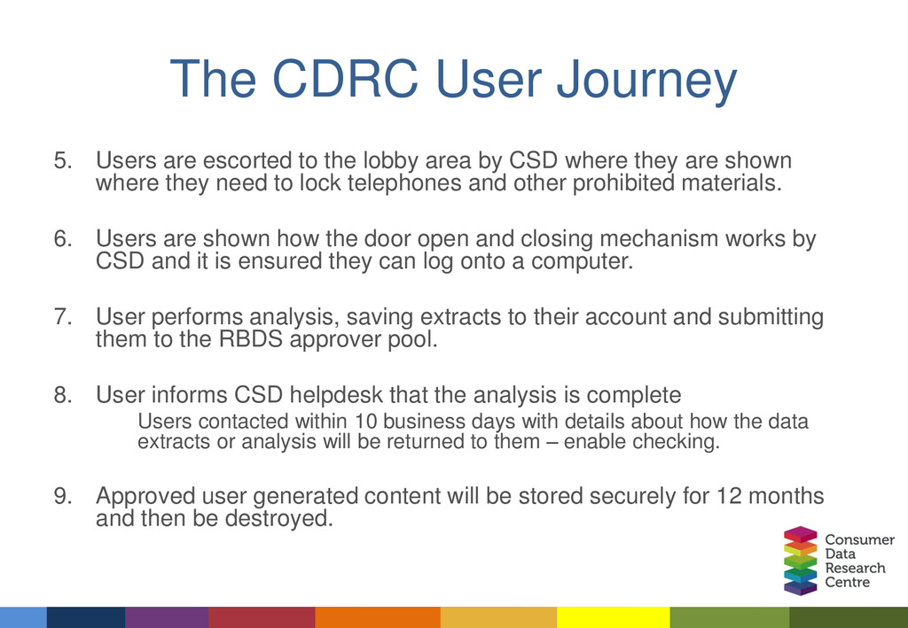 The CDRC User Journey 5. Users are escorted to ...