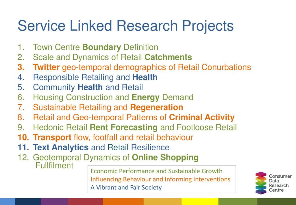 Service Linked Research Projects 1. Town Centre...