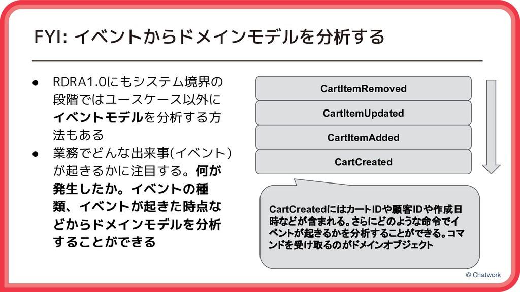 © Chatwork FYI: イベントからドメインモデルを分析する ● RDRA1.0にもシ...