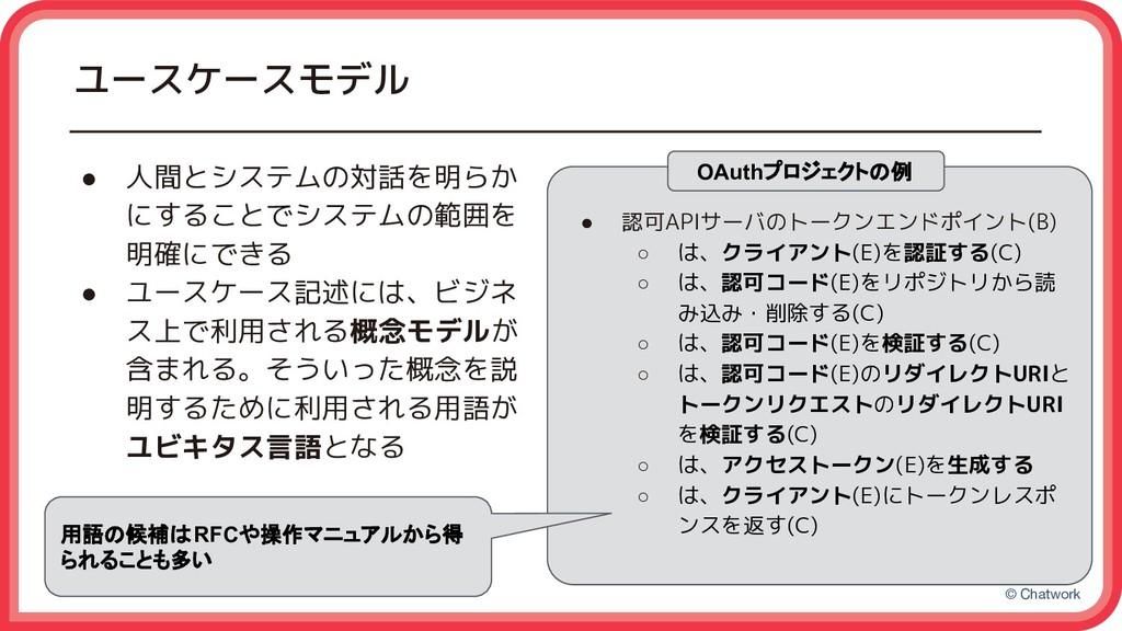 © Chatwork ユースケースモデル ● 人間とシステムの対話を明らか にすることでシステ...