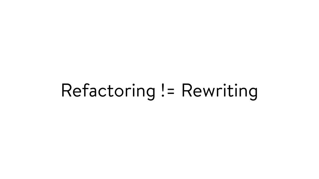 Refactoring != Rewriting
