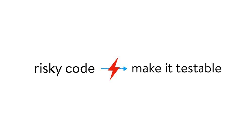 make it testable risky code