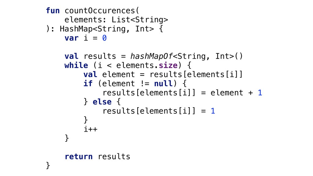 fun countOccurences( elements: List<String> ): ...