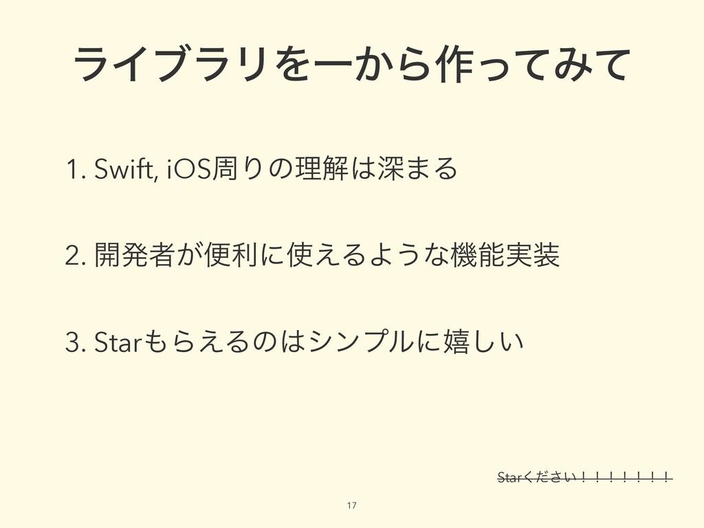 17 ϥΠϒϥϦΛҰ͔Β࡞ͬͯΈͯ 1. Swift, iOSपΓͷཧղਂ·Δ 2. ։ൃऀ...