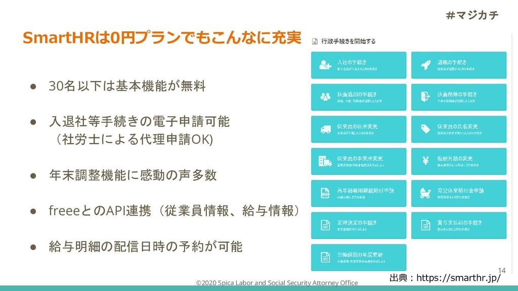 SmartHRは0円プランでもこんなに充実 ● 30名以下は基本機能が無料 ● 入退社等手続き...