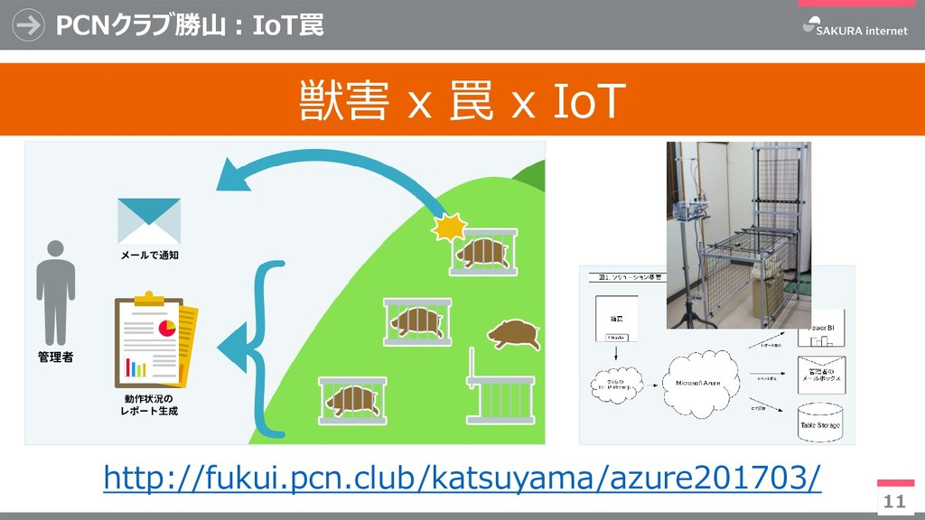 11 PCNクラブ勝山:IoT罠 獣害 x 罠 x IoT http://fukui.pcn....