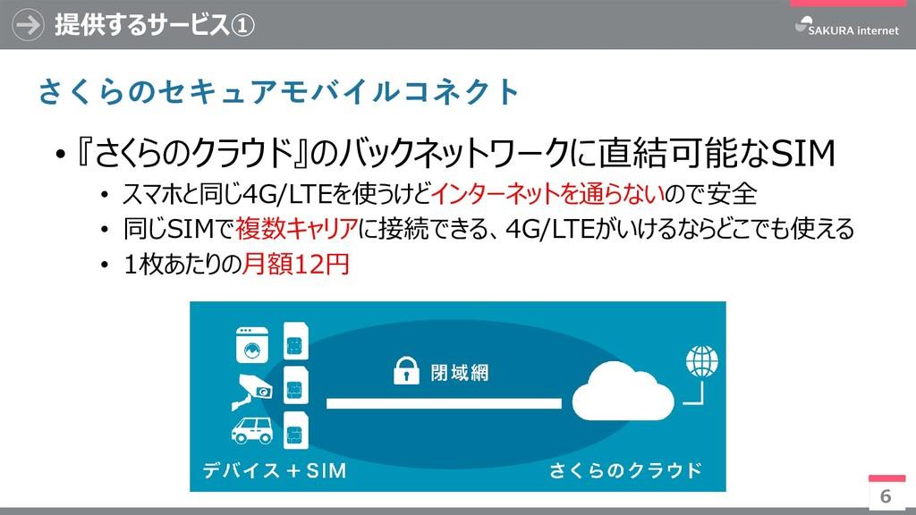 提供するサービス① 6 • 『さくらのクラウド』のバックネットワークに直結可能なSIM • ス...