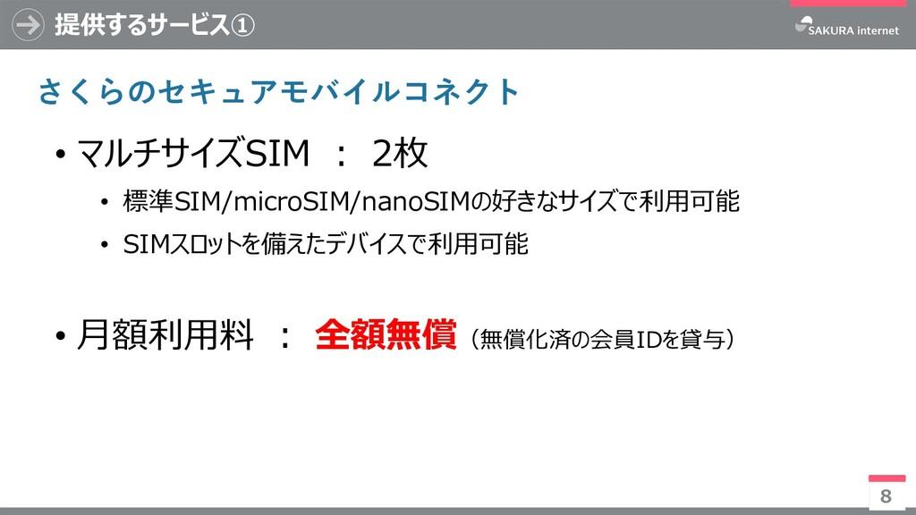 提供するサービス① 8 • マルチサイズSIM : 2枚 • 標準SIM/microSIM/n...