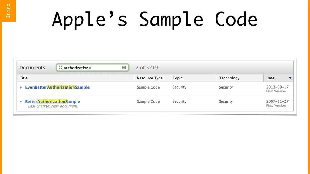 Apple's Sample Code Intro