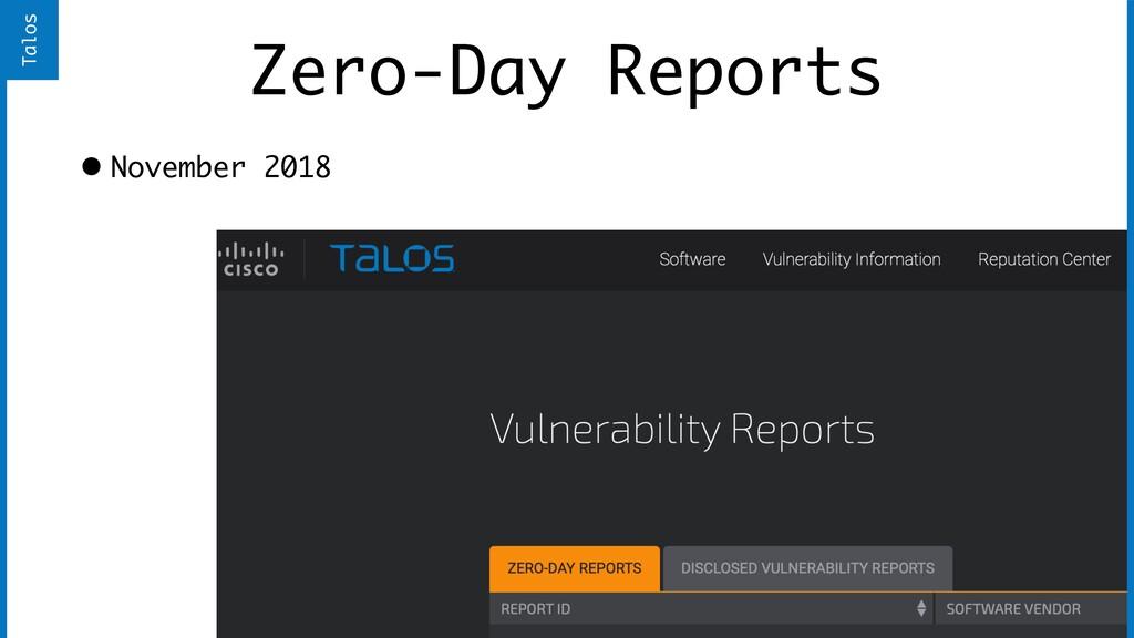 Zero-Day Reports • November 2018 Talos