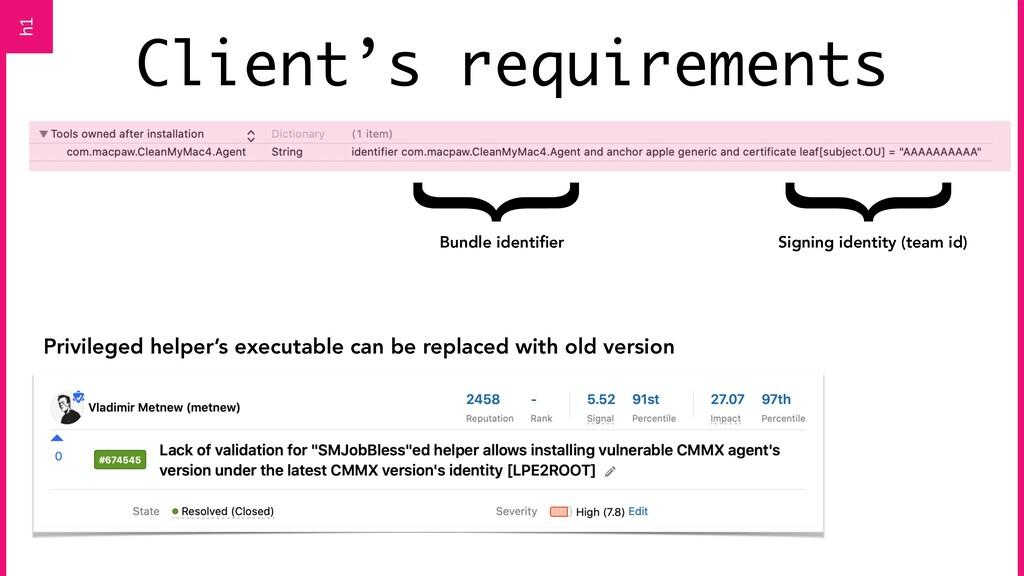 Client's requirements Privileged helper's execu...