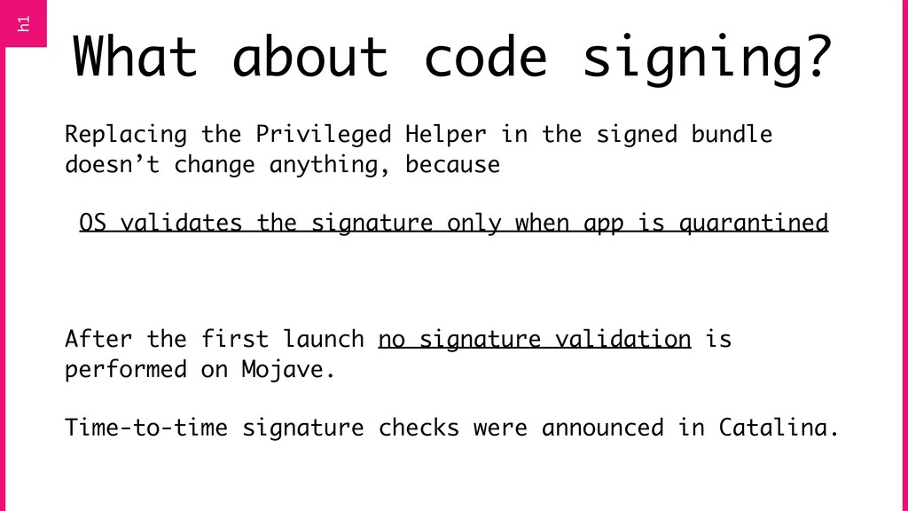 What about code signing? Replacing the Privileg...