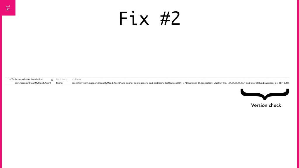 Fix #2 h1 { Version check