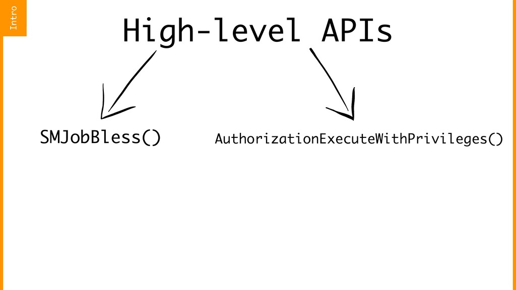 High-level APIs SMJobBless() AuthorizationExecu...