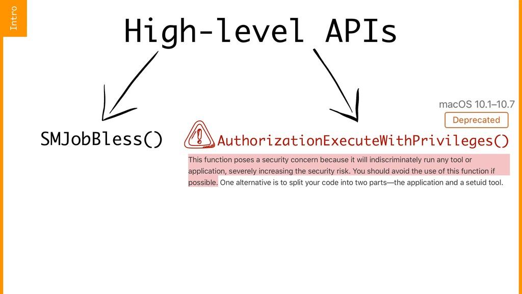 High-level APIs SMJobBless() AuthorizationExecu...