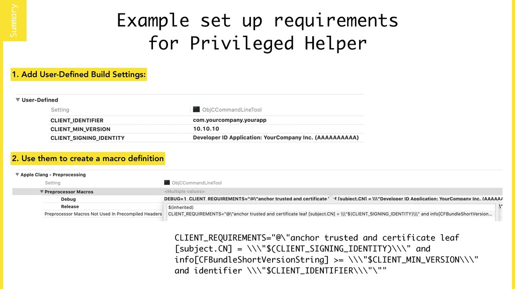 Example set up requirements for Privileged Help...