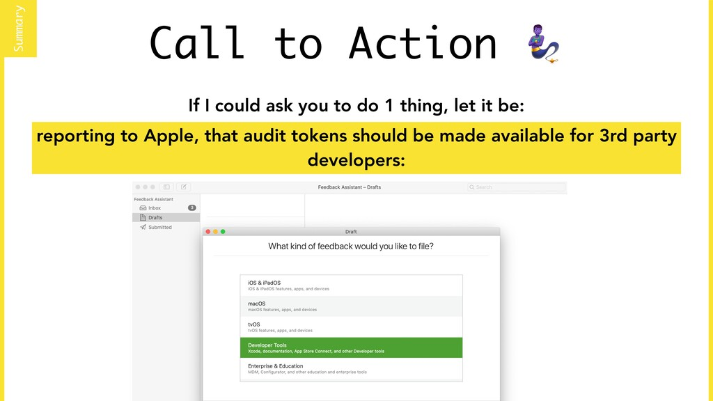 Call to Action  Summary reporting to Apple, tha...