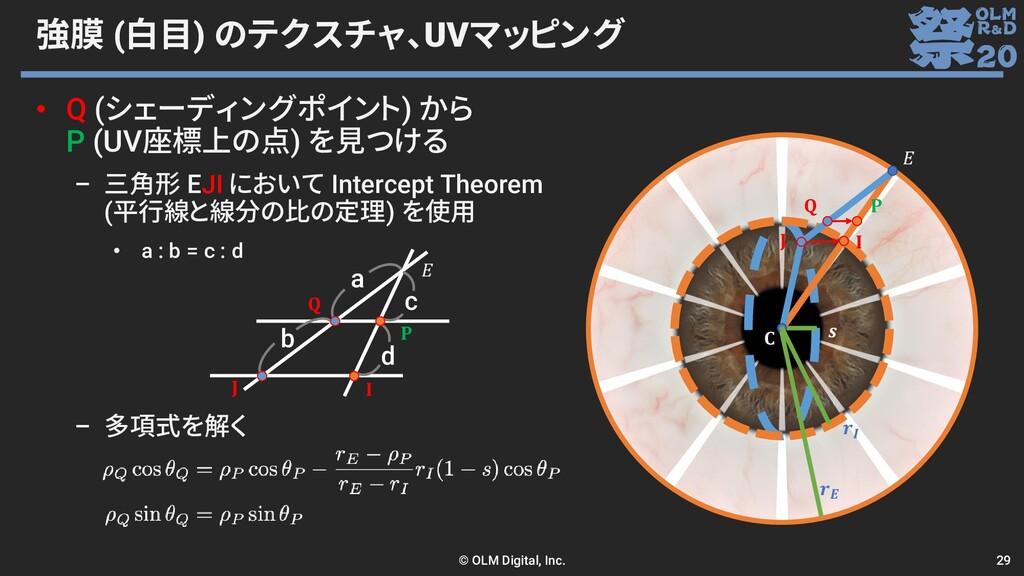 強膜 (白目) のテクスチャ、UVマッピング • Q (シェーディングポイント) から P (...