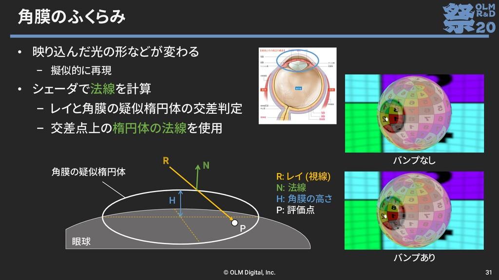 角膜のふくらみ • 映り込んだ光の形などが変わる – 擬似的に再現 • シェーダで法線を計算 ...