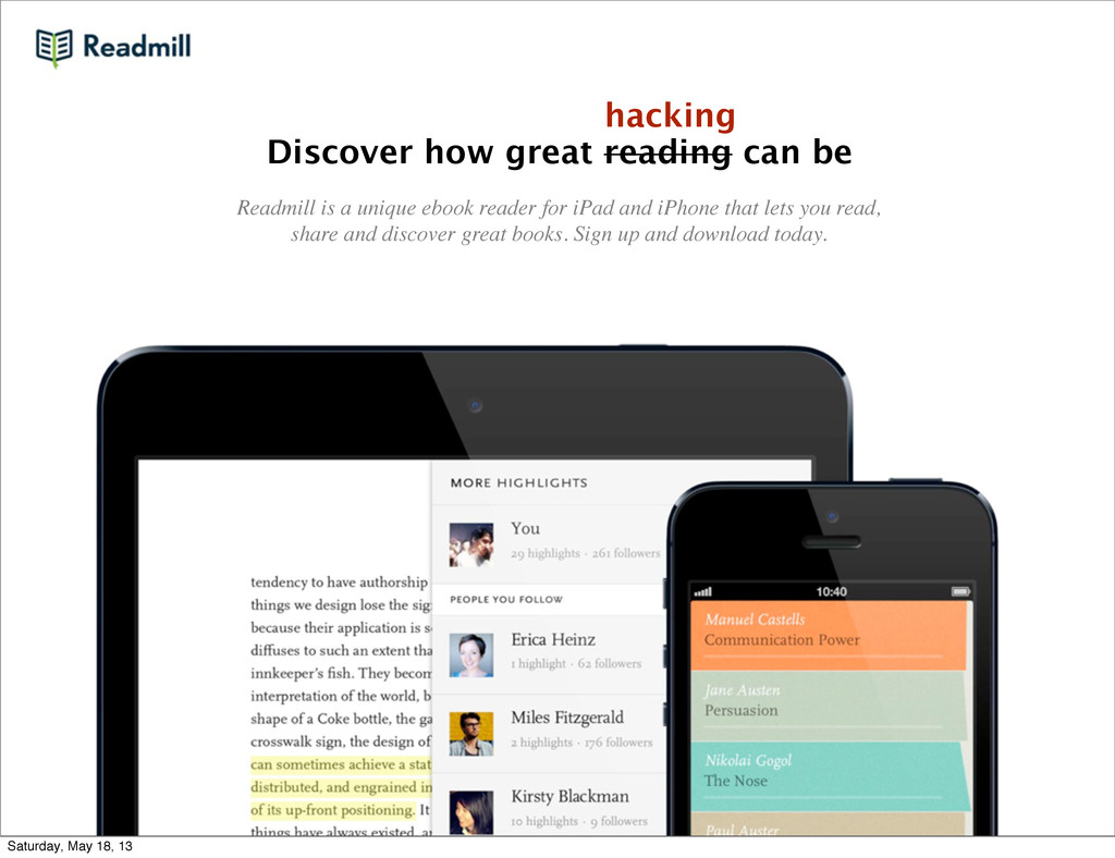 Discover how great reading can be Readmill is a...