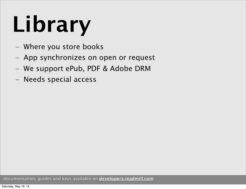 Library documentation, guides and keys availabl...