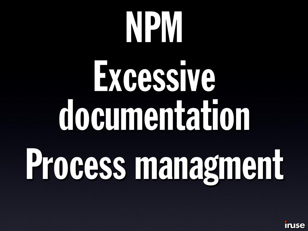 NPM Excessive documentation Process managment