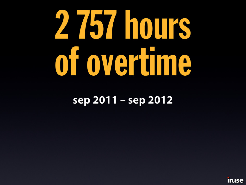 sep 2011 – sep 2012 2 757 hours of overtime