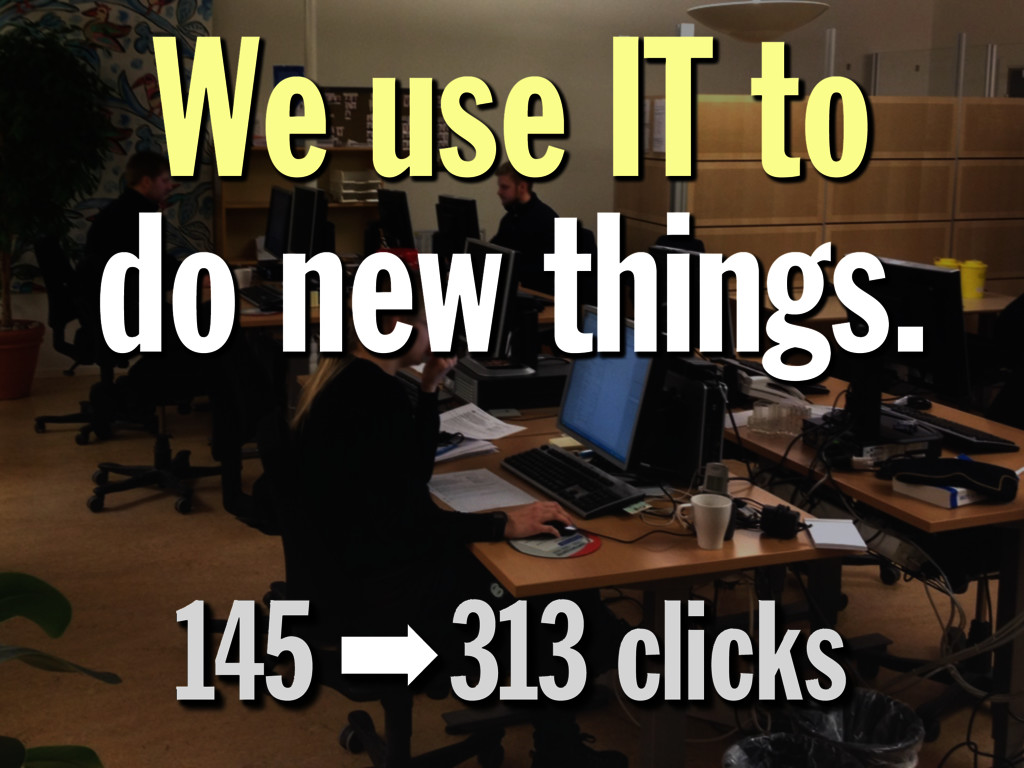 145 ➡ 313 clicks We use IT to do new things. We...