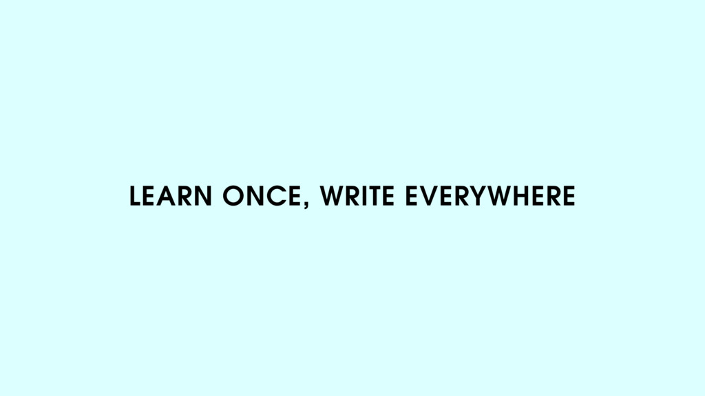 LEARN ONCE, WRITE EVERYWHERE