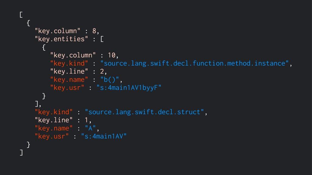 """[ { """"key.column"""" : 8, """"key.entities"""" : [ { """"key..."""