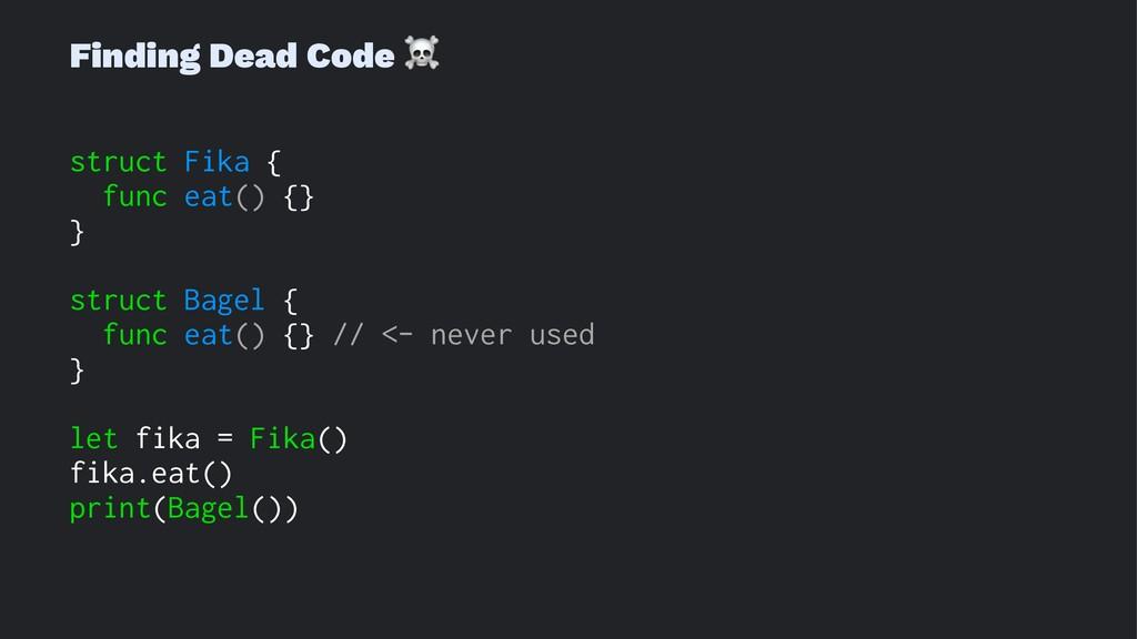 Finding Dead Code ☠ struct Fika { func eat() {}...