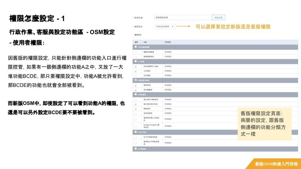 行政作業、客服與設定功能區 - OSM設定 - 使用者權限: 權限怎麼設定 - 1 新版OSM...