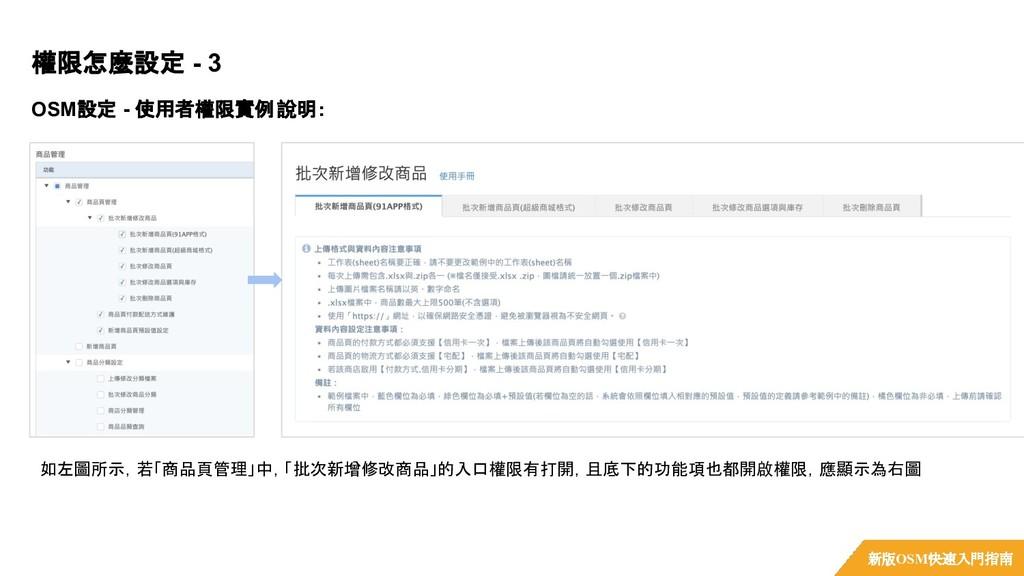OSM設定 - 使用者權限實例說明: 權限怎麼設定 - 3 新版OSM快速入門指南 如左圖所示...