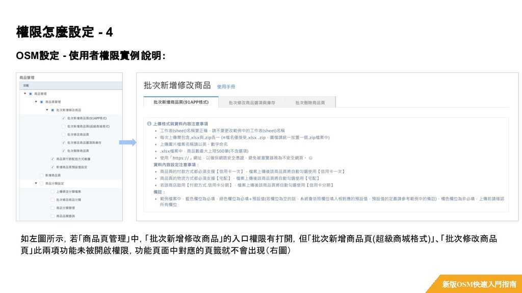 OSM設定 - 使用者權限實例說明: 權限怎麼設定 - 4 新版OSM快速入門指南 如左圖所示...