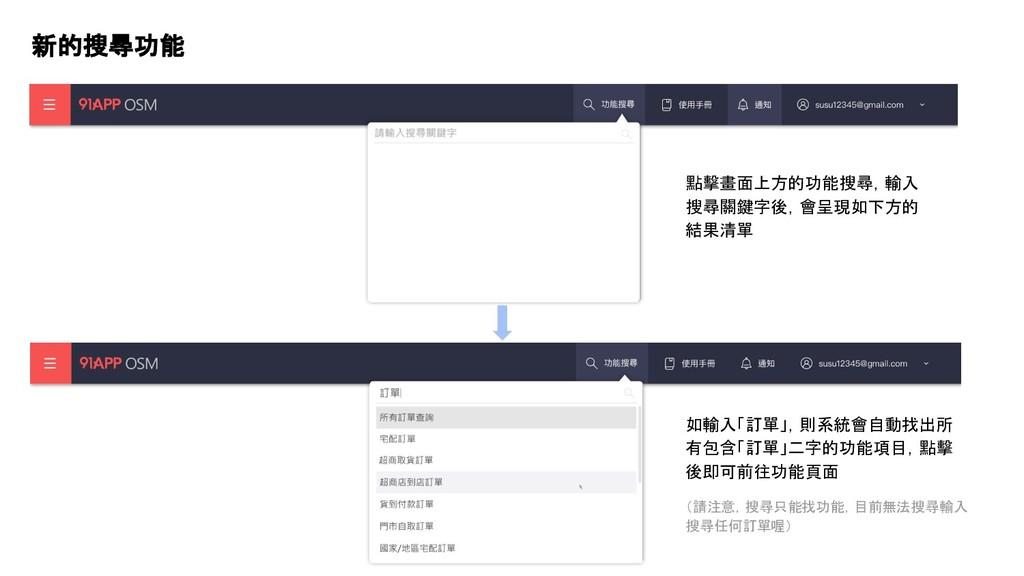 新的搜尋功能 點擊畫面上方的功能搜尋,輸入 搜尋關鍵字後,會呈現如下方的 結果清單 如輸入「訂...