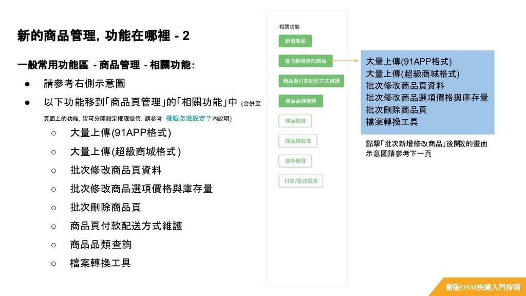 一般常用功能區 - 商品管理 - 相關功能: ● 請參考右側示意圖 ● 以下功能移到「商品頁管...