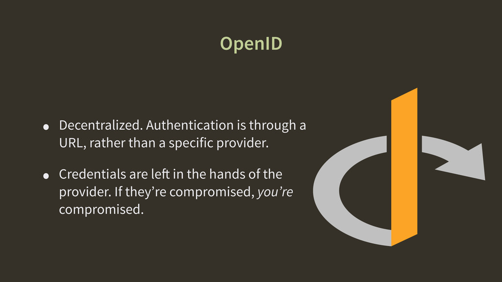 OpenID • Decentralized. Authentication is throu...