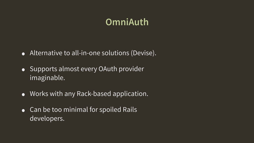OmniAuth • Alternative to all-in-one solutions ...