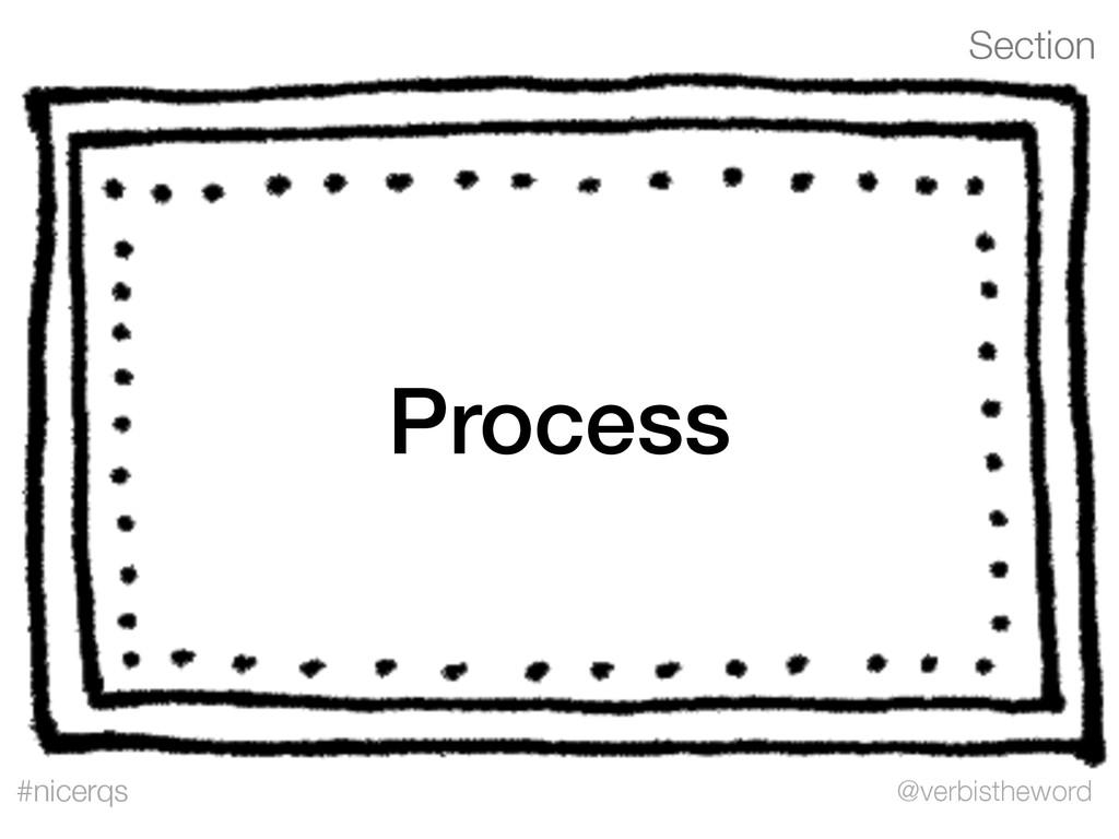 Section @verbistheword #nicerqs Process