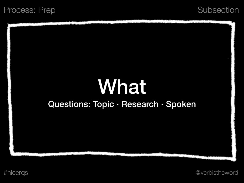 Subsection @verbistheword #nicerqs What Questio...