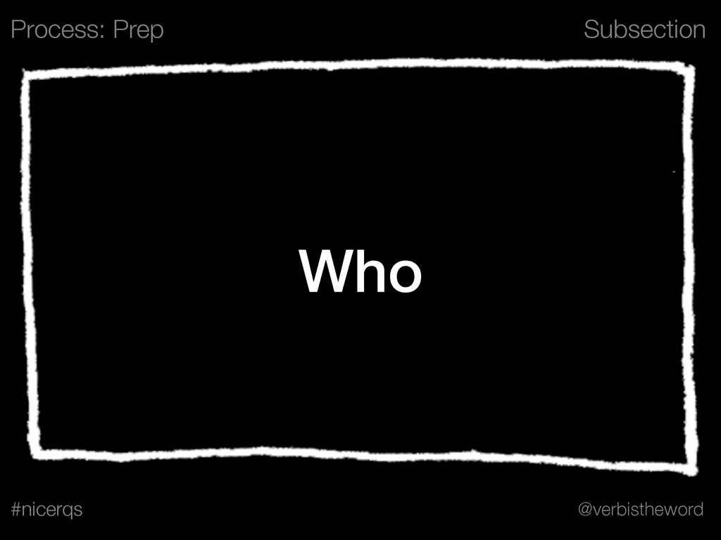 Subsection @verbistheword #nicerqs Who Process:...