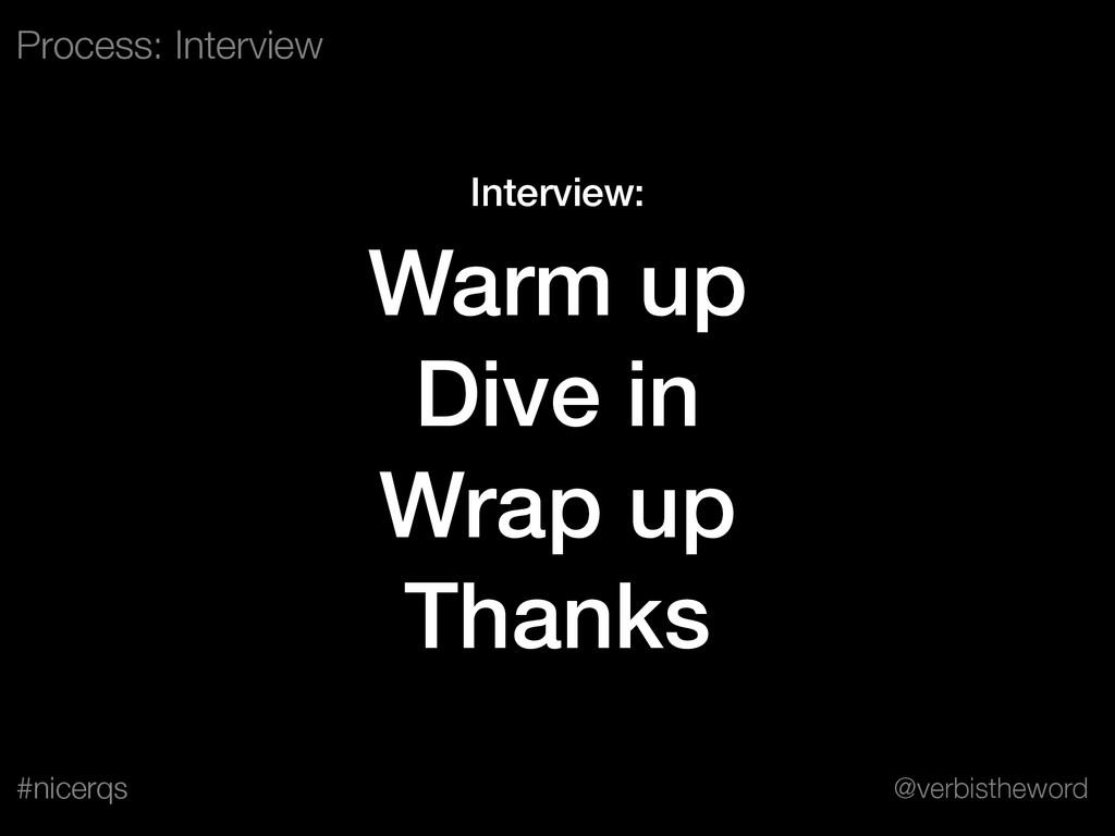@verbistheword #nicerqs Interview: Warm up Dive...
