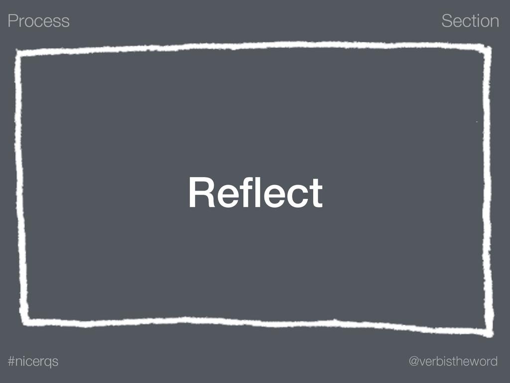 Section @verbistheword #nicerqs Reflect Process